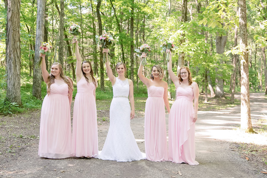 Bride and Bridal Party on Traditional Bridal Path - Rural Hil Farm